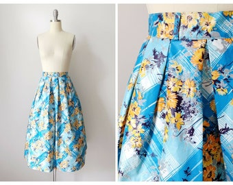 1950s Polished Cotton Floral Box Pleat Skirt | Vintage 50s Blue White Orange and Yellow Print Knee Length Skirt | Women's Clothing