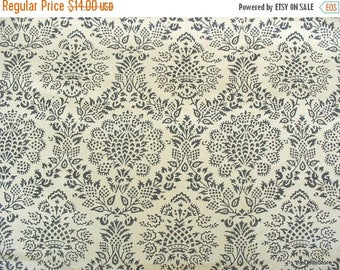 Flat 40% Off Damask Block Print Cotton Silk Blend Fabric by the Yard