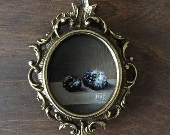 "Tiny acrylic painting, ""Still life with rotten blackberries"" pop surrealism, baroque inspired art"