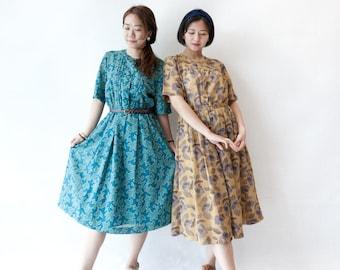 Vintage dress   Japanese 70s 80s   short sleeves   teal   leaves pattern   floral dress