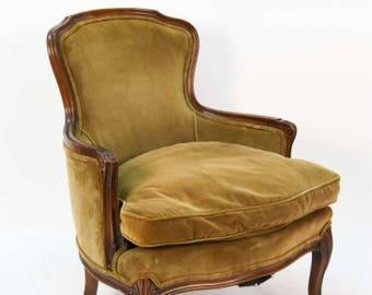 SOLD Vintage French Velvet Armchair Louis XV Style