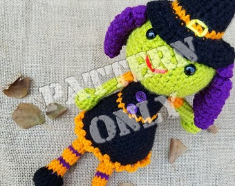 Witchy the Crochet Witch Crochet Pattern PDF File-Crochet Patterns-Halloween Crochet Pattern-Crochet Witch pattern