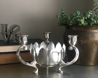 vintage silver lotus candle holder floral frog centerpiece flower arranger
