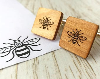 Any logo or image cufflinks. Personalised cufflinks. Wooden Cufflinks. Fathers day gift. Bee cufflinks. Cherry cufflinks