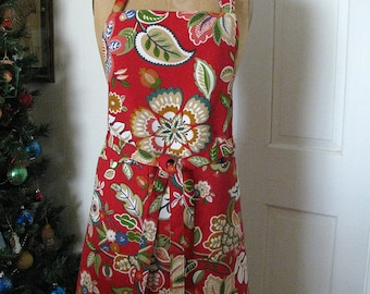 Full Size Cotton Apron Red with Two Pockets, Bold Flowers - One Size Fits All - Kitchen Apron - Red with Bold Floral Pattern
