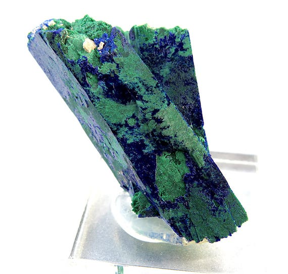 Azurite with Malachite Pseudomorph. 1.75 Inch tall. Morocco. 26.1 grams mounted on lucite