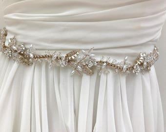 Gold Pearl And Crystal Bridal Sash With Floral Leaf Vintage Vine Design,  Bridal Sash, Wedding Dress Sash, Bridal Belt