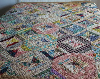 Antique Abstract Patchwork Quilt, Colorful Handmade Quilted Blanket, Primitive
