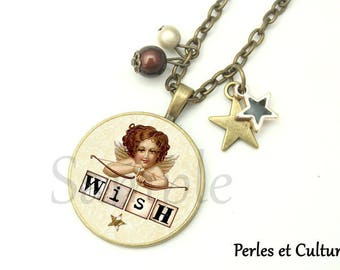 Angel - beige black brown cabochon star Wish necklace