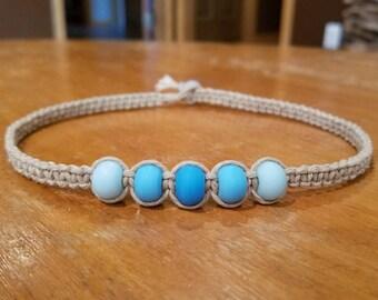 Hemp Necklace Beads Hemp Choker Necklace Blue Beaded Choker Blue Beaded Necklace Womens Choker Necklace for Her Necklace Boys Necklace Gift