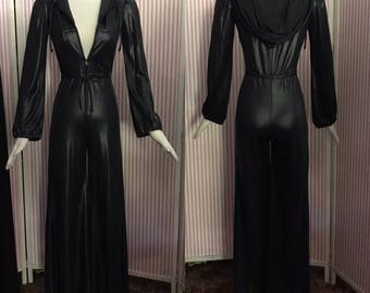 Sexy 1970's Wet Look Fetish Hooded Disco Jumpsuit