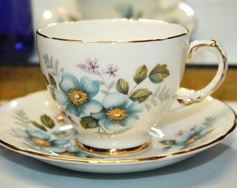 DELPHINE Bone China Teacup and Saucer Set