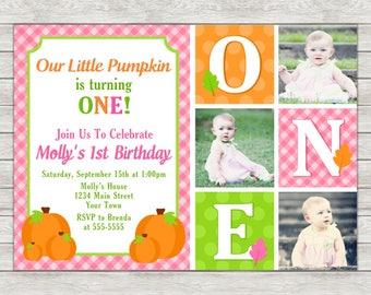 Pumpkin Girl 1st Birthday Invitation, Pink Pumpkin Girl Birthday Invite - Printable File or Printed Invitations