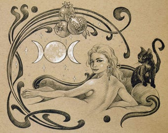 ORIGINAL DRAWING Art Nouveau Goddess Art Triple Moon Hecate Myth Black Cat Pencil Figure Drawing 8x10 Inches