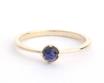 Iolite Engagement Ring Yellow Gold Engagement Ring, Iolite Gemstone Gold  Ring, Purple Gemstone Ring, Dainty Ring, Minimal Ring