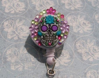 Skull and Flower gem Badge reel