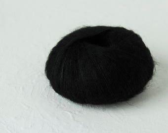 Silk Mohair knitting yarn in black color