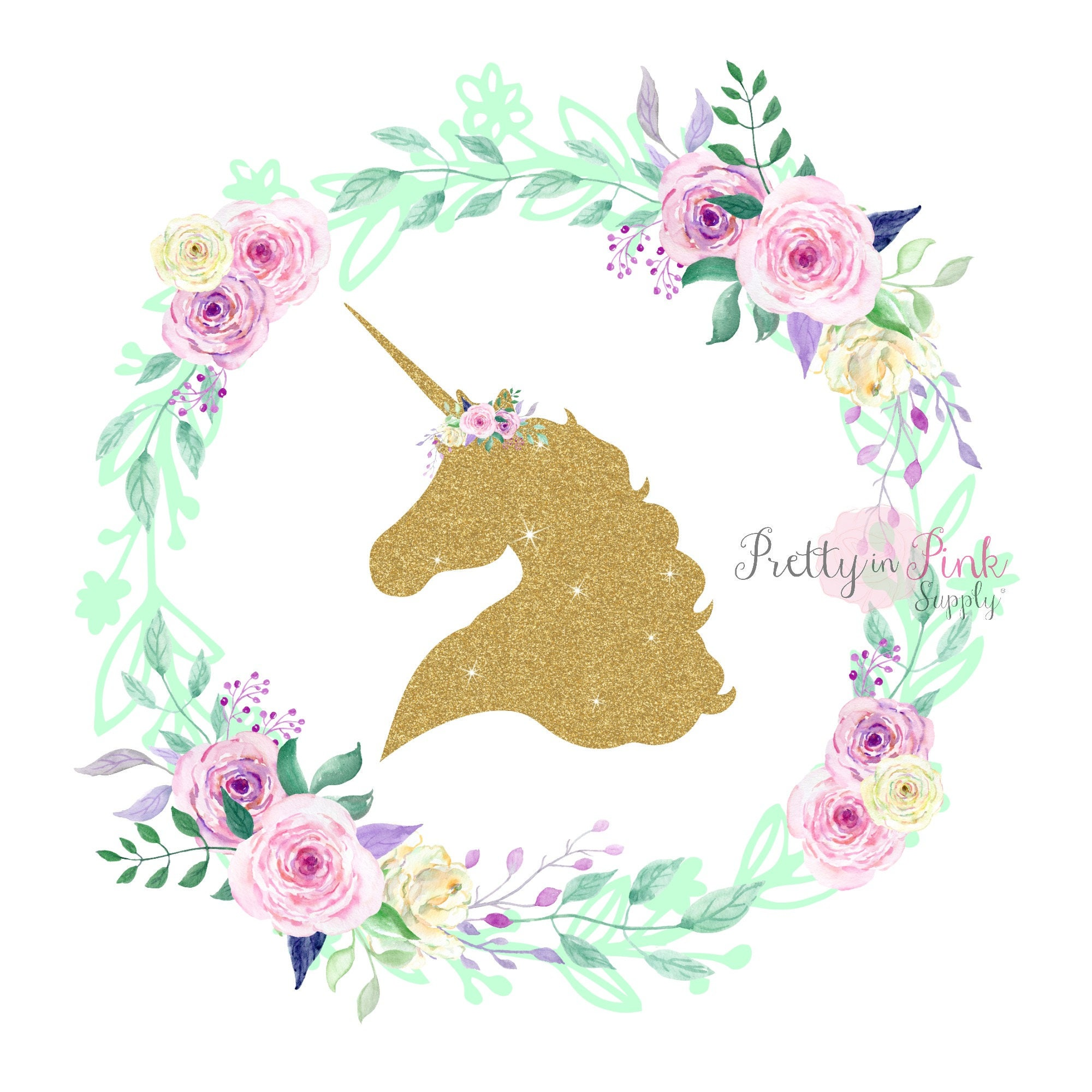 Gold Glitter Unicorn Center Floral Wreath Iron On Diy