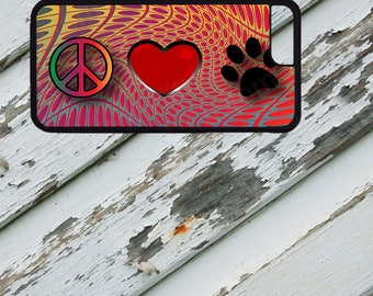 Peace Love Paw Design on iPhone  5 / 5s / 5c / 6 / 6 Plus/7 / 7 Plus Rubber Silicone Case
