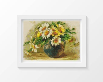 Cross Stitch Chart, Daisies Cross Stitch Pattern PDF, Art Cross Stitch, Flowers Cross Stitch, Catherine Klein, Embroidery Chart (KLEIN01)