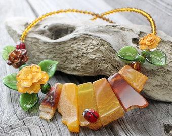 Lampwork Necklace, Floral Lampwork Necklace, Focal Lampwork Flower Necklace, Handmade Glass Necklace, Handmade Necklace