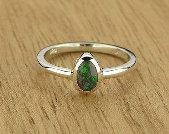 0.25ct Semi-Black Opal Ring in 925 Sterling Silver Size 4.5 SKU: 1979B026-926