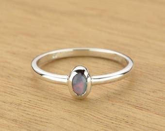 0.30ct Semi-Black Opal Ring in 925 Sterling Silver Size 8.5 SKU: 1979S032