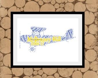 Bi Plane Word Art, Personalised Plane Print, Airplane Word Collage, Gift For Pilot, Personalised BiPlane Print, Gift For Air Stewardess