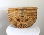 1950s Large Wooden Half Moon Handbag // 1960s basket handbag // vintage purse