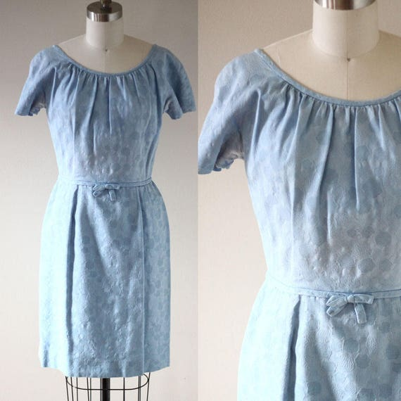 1960s blue fitted dress // beaded blue dress // vintage dress