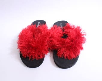 Red Furry Texture Sandal
