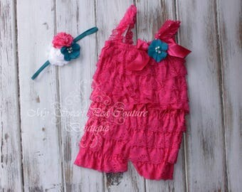 Hot Pink Embelished Lace Romper & Headband Set- First Birthday Outfit- Petti Romper- Cake Smash Outfit- Newborn Petti Romper- Headband
