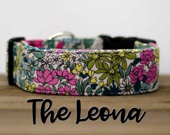 """Modern Vintage Floral Dog Collar """"The Leona"""""""