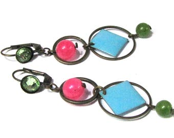 earrings, enamel metal and stones in fuchsia, turquoise, lime and bronze
