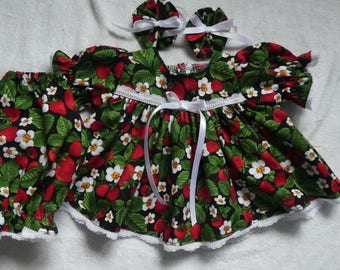 """16"""" Cabbage Patch doll clothes strawbrries dress bloomers & bows,dress,doll dress,handmade,doll clothing,dress,doll outfit,strawberry"""