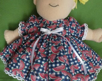 for your Baby Stella doll - dress & bloomers,Baby Stella,plush doll,dress,doll clothes,doll outfit,15 inch Stella doll,watermelon