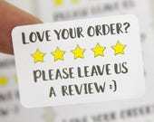 Review Stickers - Please leave a review - Etsy Review - Review Request - Purchase Review - Review Labels - Leave Review Sticker - Five Star