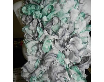 Ruffled tulle edge tortoiseshell - gray and Mint cowl scarf