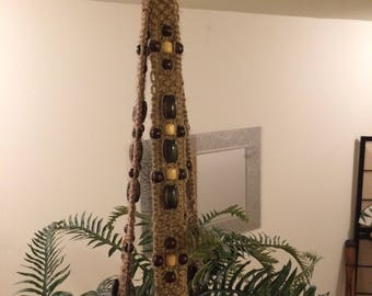 Extra Long, Large, Heavy Duty Jute Macrame Plant Hanger with Lots of Wooden Beads.