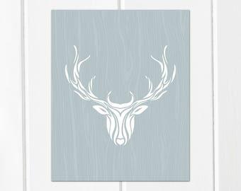 Rustic Deer Printable Art // Deer Art for Nursery, Rustic Deer Decor // Printable Deer and Antlers // Winter Wall Art, Woodland Printable