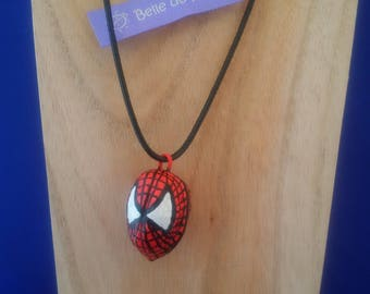 "Painted natural coconut necklace ""Spiderman"""