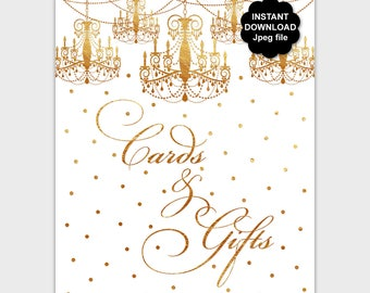 Gold Cards and Gifts Sign, Printable Gold Gift Table Sign, DIY Wedding Signage, Birthday Sign, Chandelier Card Sign, Instant Download PP8