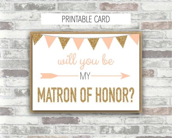 INSTANT DOWNLOAD - Emilia Collection - Printable 'Will you be my Matron of Honor' 7x5 card Gold Blush Peach-Pink Bridesmaid Proposal