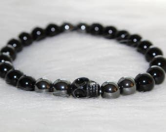 Boho Beaded Bracelet: Men's Bracelet Black Beads with Black Skull Charm