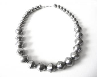 """Long Vintage Sterling Silver Hand Stamped Graduated Bead Necklace 31 1/4"""""""