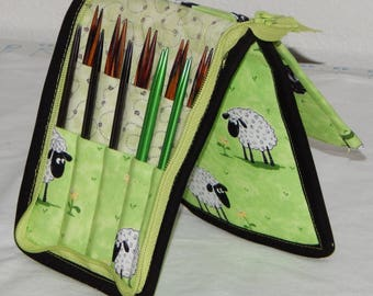20 pair capacity Interchangeable knitting needle and crochet hook keeper case sized to hold up to US 11, sheep