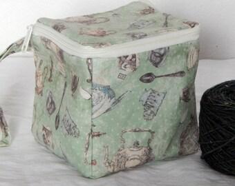 "Zippered project yarn box, 5.5"" x 5.5"" sock box bag, knitting, crochet, embroidery, Tea Party, teapots"