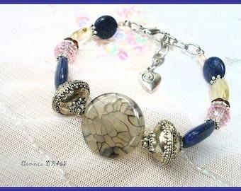 Blue bracelet, unique handmade gray * Cinnia BR465 *.