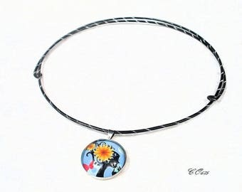 aluminum Choker necklace adjustable blue CO675