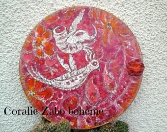 Acrylique-peinture moderne-peinture envole d'oiseaux dans un jardin de fleurs rose bohème-toile ronde